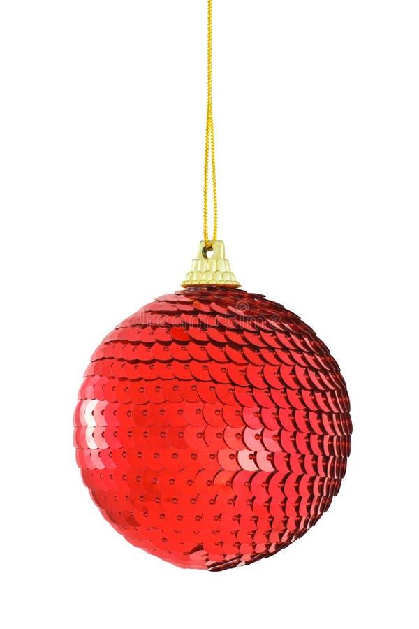 Bauble spangled vermelho do Natal imagens de stock