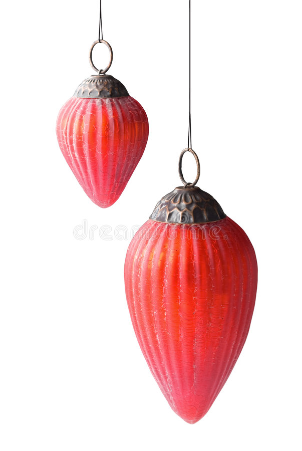 Baubles antic vermelhos do Natal imagem de stock royalty free