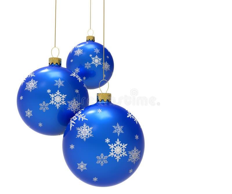 Baubles azuis do Natal ilustração do vetor