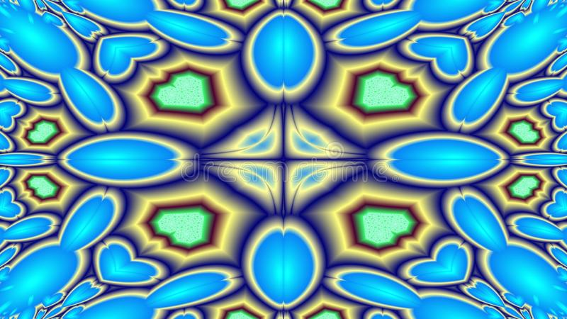Baubles and beads. Cool kaleidoscopic fractal evoking better memories of colours and ovals, widescreen vector illustration