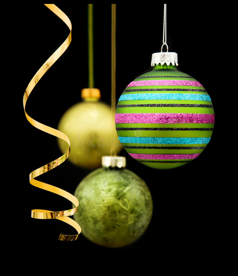 Baubles on black royalty free stock photos