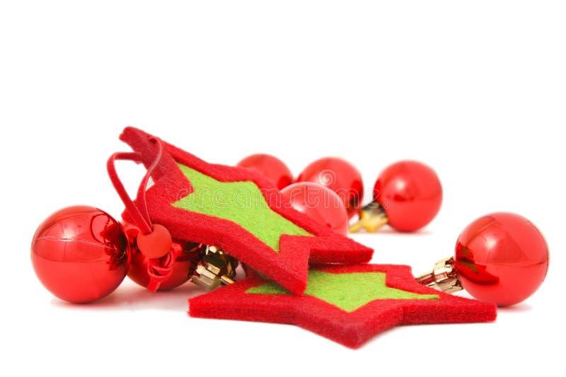 baubles czerwieni gwiazdy zdjęcie stock