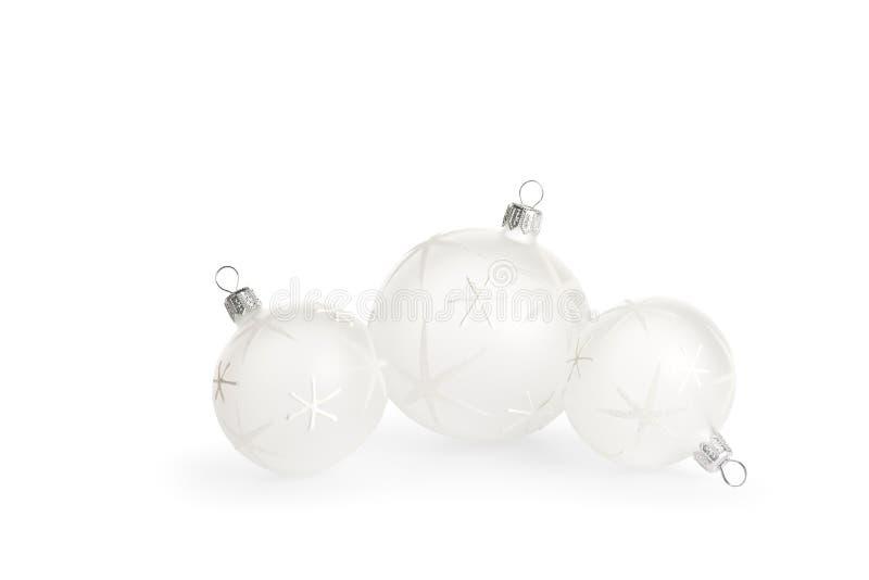 Baubles do Natal branco imagem de stock