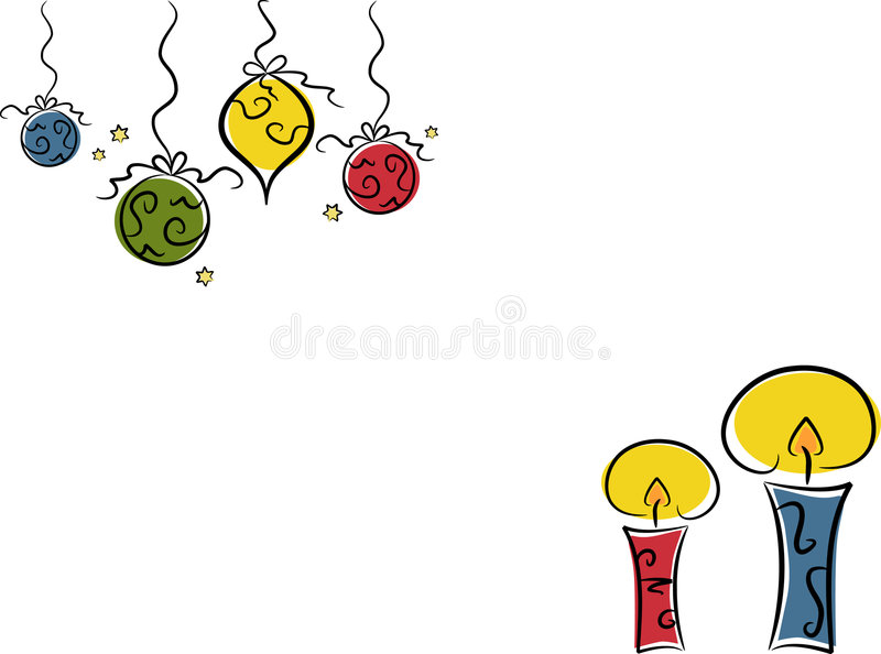 Baubles e velas do Natal ilustração stock