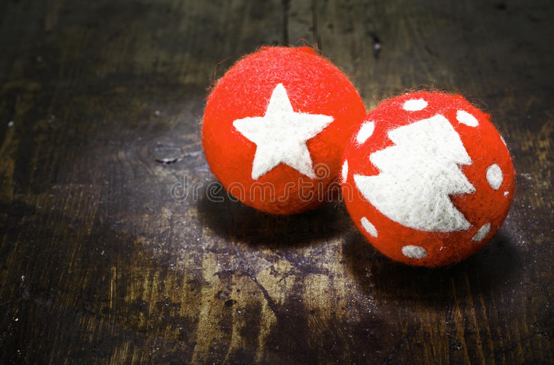 Baubles handcrafted bonitos do Natal fotografia de stock royalty free