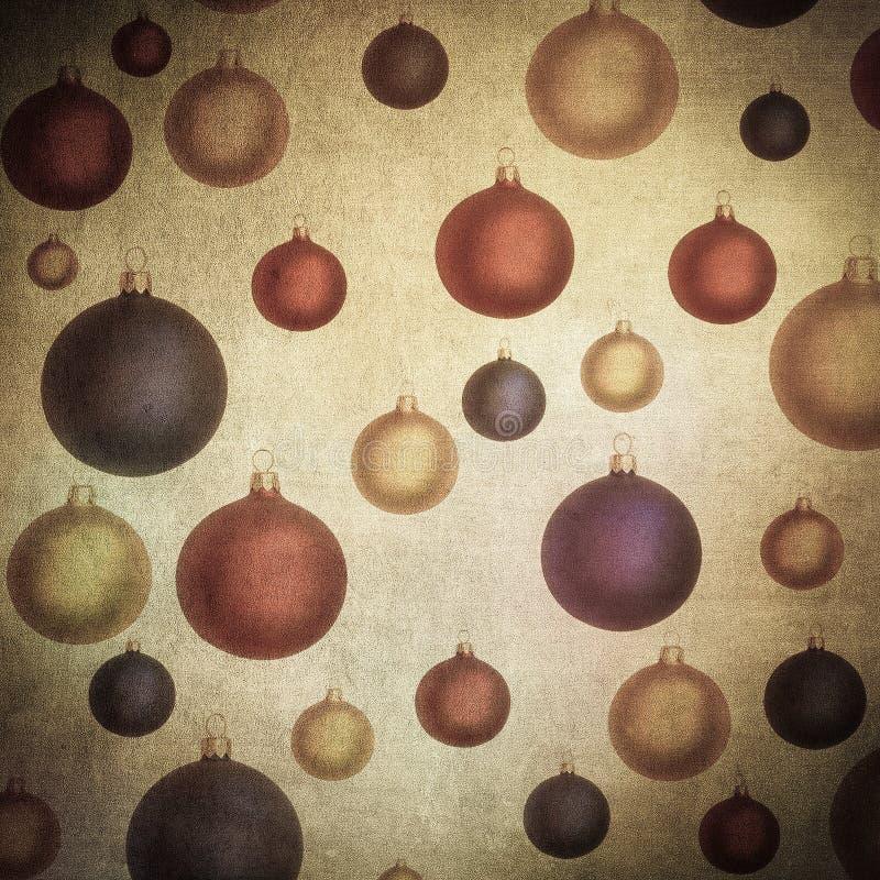 Baubles nad rocznika papierem, ładny bożego narodzenia tło fotografia stock