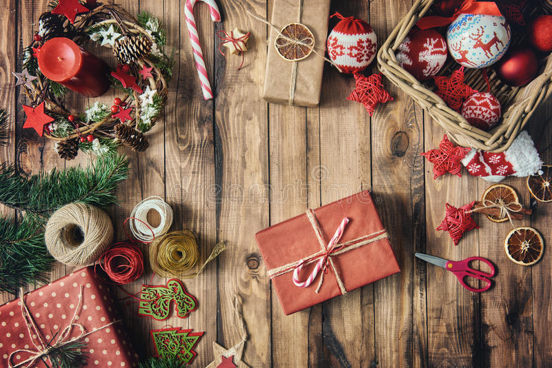 Baubles, presents, candy with christmas ornaments royalty free stock photography