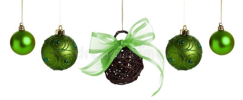 Baubles verdes do Natal fotografia de stock royalty free