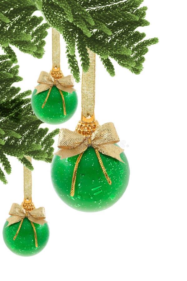 Baubles verdes do Natal foto de stock royalty free