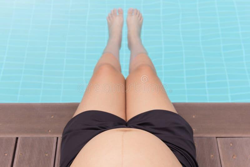 Bauch der schwangeren Frau mit den Beinen im Swimmingpool lizenzfreie stockfotografie