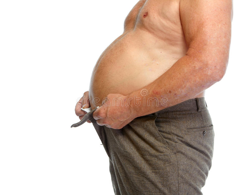 Bauch des dicken Mannes stockbilder