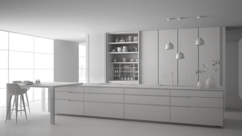 ?bauche blanche totale de projet de cuisine minimaliste, d'?le, de table, de tabourets et d'armoire ouverte avec des accessoires, illustration stock