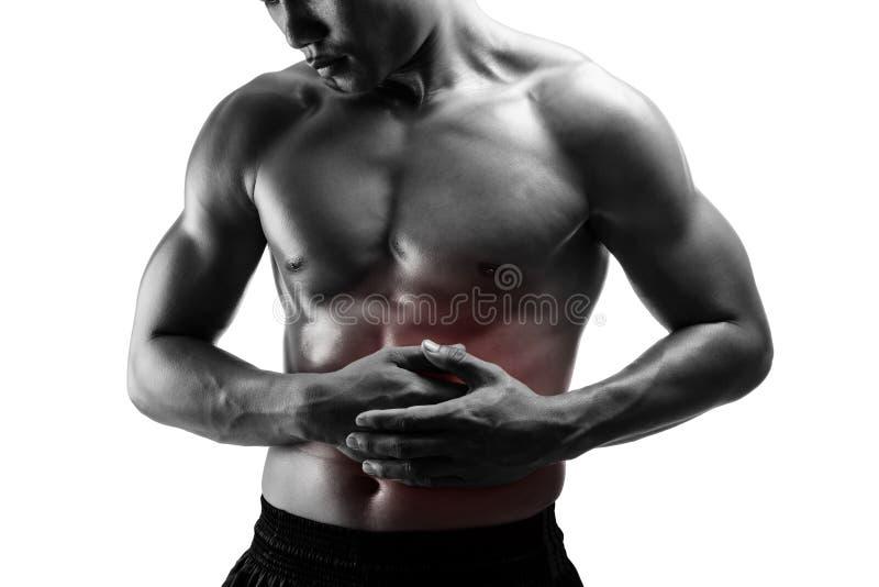Bauchschmerzen des jungen Mannes, lokalisiert auf Weiß lizenzfreies stockfoto