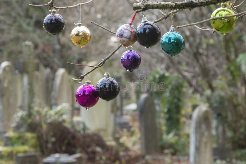 Baudias de Navidad en el viejo cementerio del sur de ampton fotos de archivo