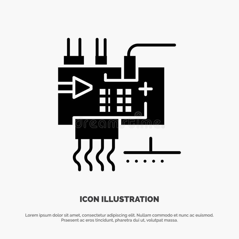 Bauen Sie zusammen, fertigen Sie, Elektronik, Technik, Teile fester Glyph-Ikonenvektor besonders an lizenzfreie abbildung