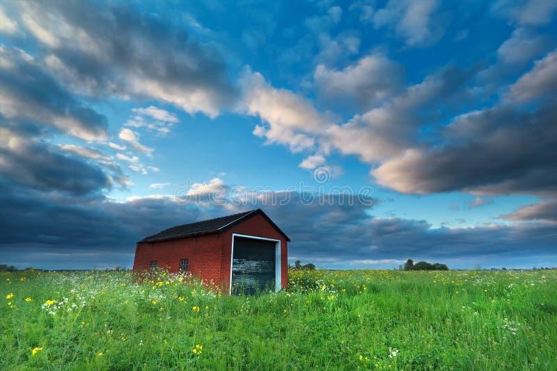 Bauernhaus auf blühender Wiese über blauem Himmel lizenzfreies stockfoto