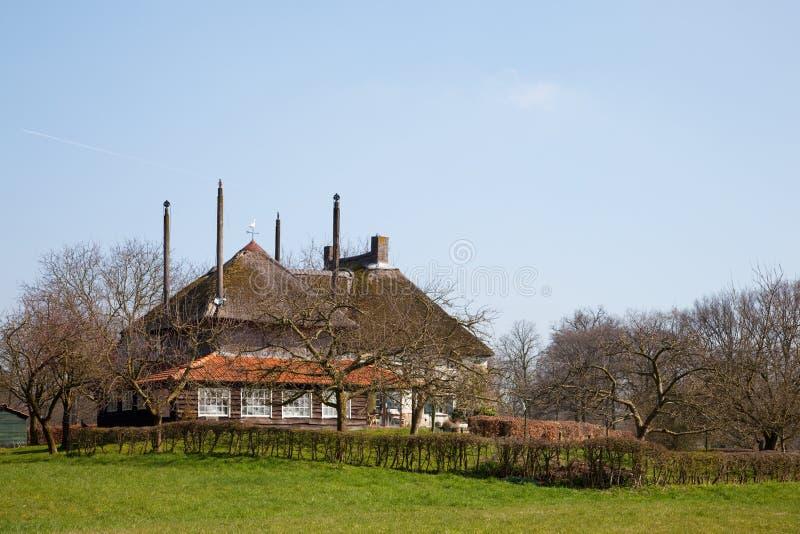 Bauernhaus in der holländischen Landschaft lizenzfreie stockfotos