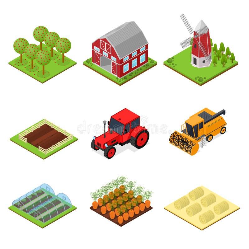 Bauernhof-Farbikonen stellten isometrische Ansicht ein Vektor lizenzfreie abbildung