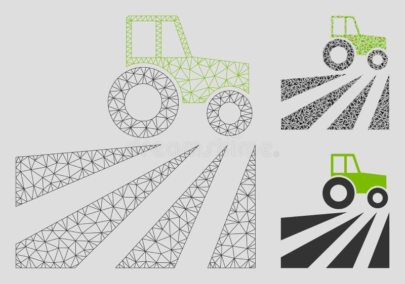 Bauernhof-Feld mit Traktor-Vektor Mesh Network Model und Dreieck-Mosaik-Ikone lizenzfreie abbildung