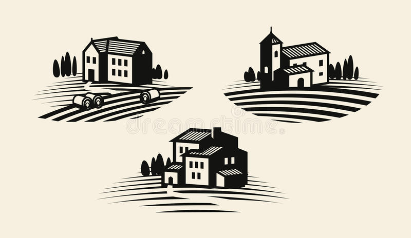 Bauernhof, Ikone oder Logo bewirtschaftend Landwirtschaftliche Industrie, Weinbau, WeinbergKennsatzfamilie Auch im corel abgehobe lizenzfreie abbildung