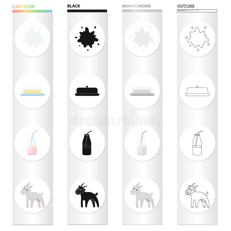 Bauernhof, Industrie, Lebensmittel und andere Netzikone in der Karikaturart Wolle, Tier, Hauptikonen in der Satzsammlung vektor abbildung