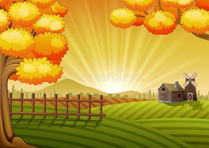 Bauernhof-Karikatur-Landschaft stock abbildung