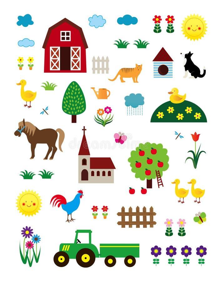 Bauernhof-Leben-Set stock abbildung