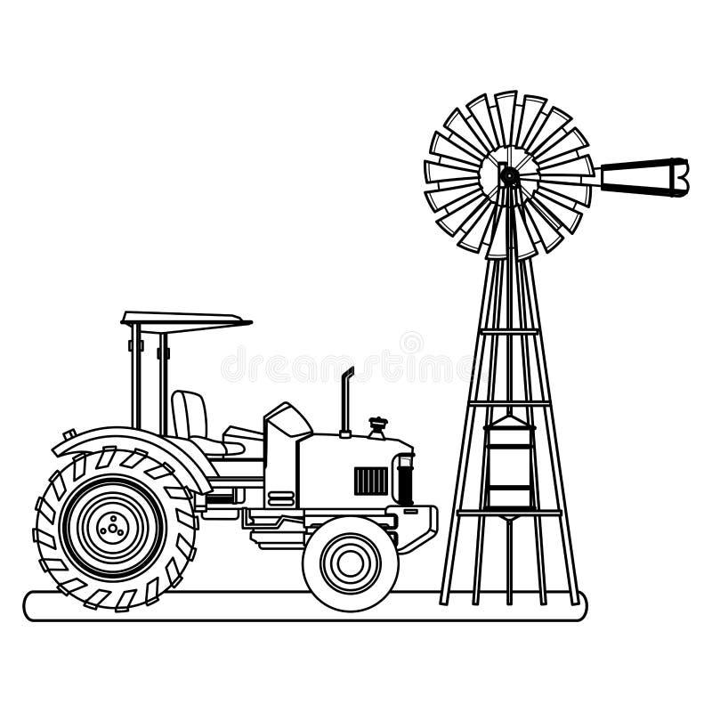 Bauernhof-LKW-Traktor und -Windkraftanlage Schwarzweiss lizenzfreie abbildung