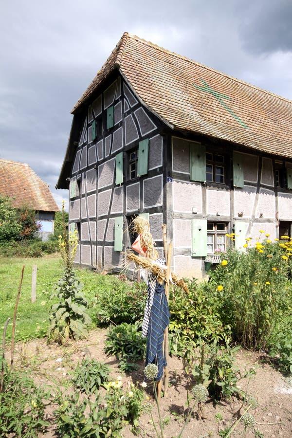 Bauernhof mit Vogelscheuche stockbilder