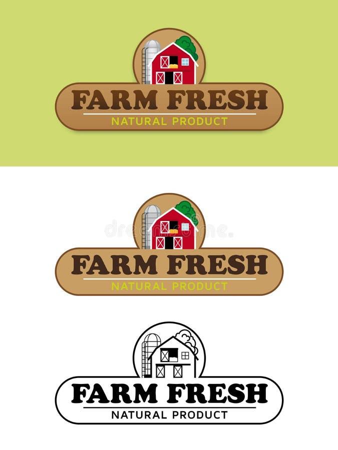Bauernhof-neue Lebensmittelkennzeichnung mit Scheunen-und Silo-Vektor-Illustration stock abbildung