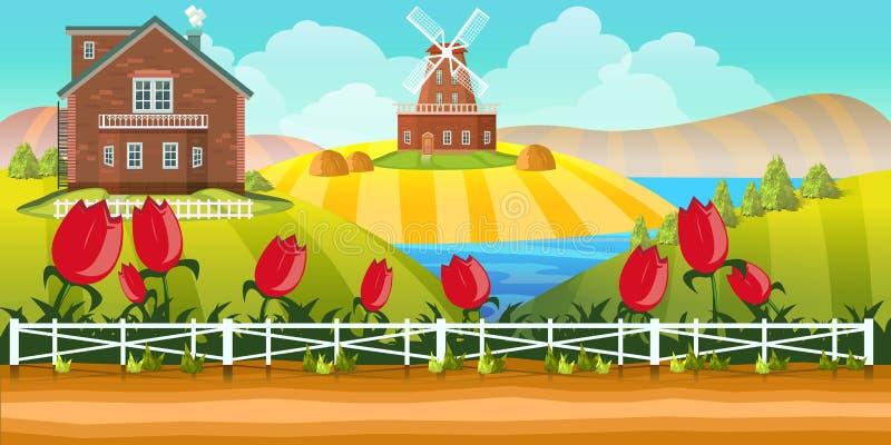 Bauernhof-Spiel-Hintergrund lizenzfreie abbildung
