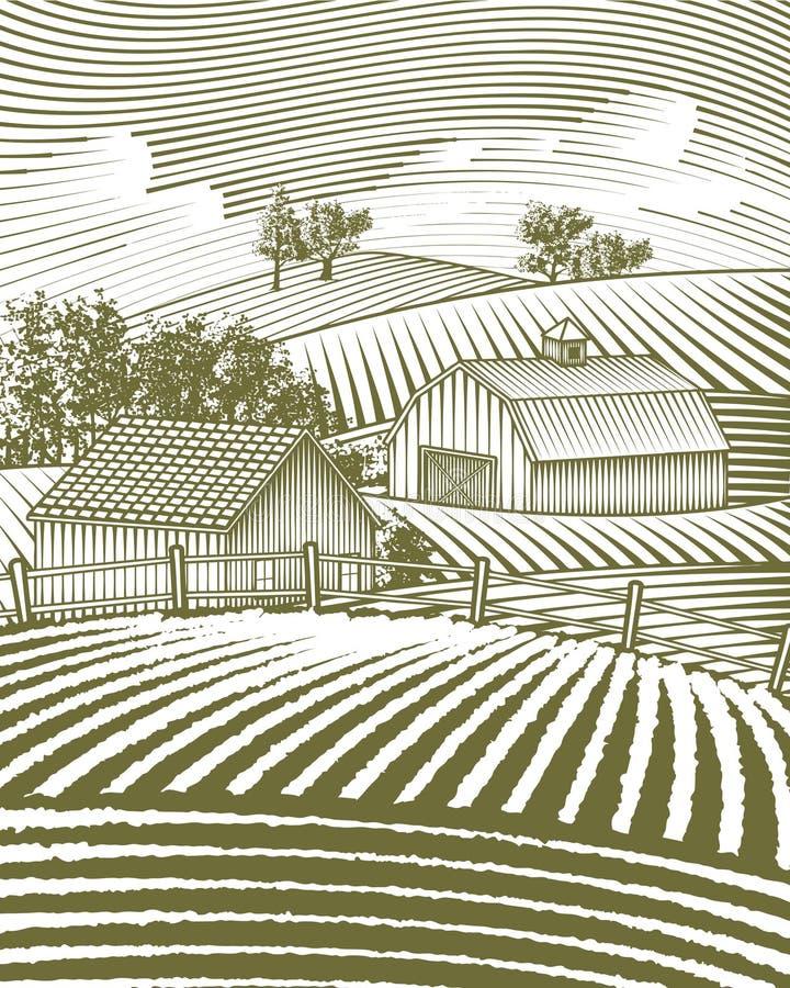 Bauernhof-Szenen-Landschaft lizenzfreie abbildung