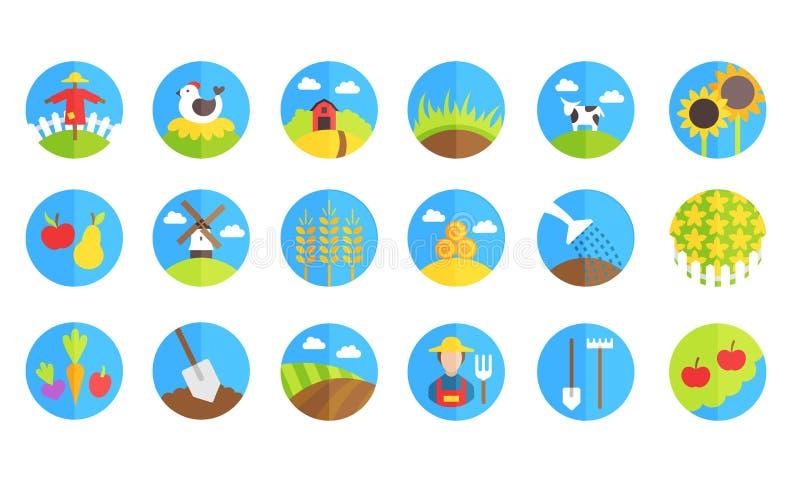 Bauernhof und Gartenarbeitvektorikonen lizenzfreie abbildung