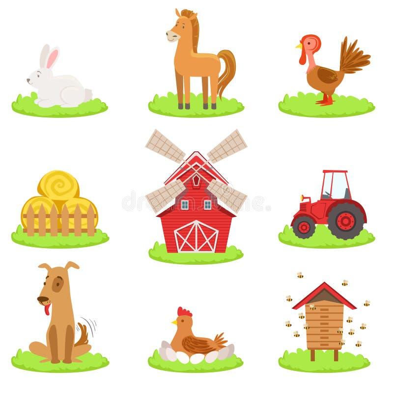 Bauernhof-verbundene Tier-und Gegenstand-Sammlung vektor abbildung