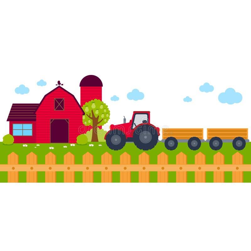 Bauernhoffahne mit Scheune und Traktor vektor abbildung