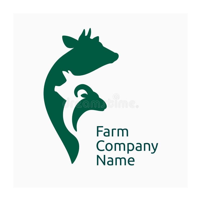 Bauernhoffirmenlogo, landwirtschaftliche Tiere der Ikone stockbilder