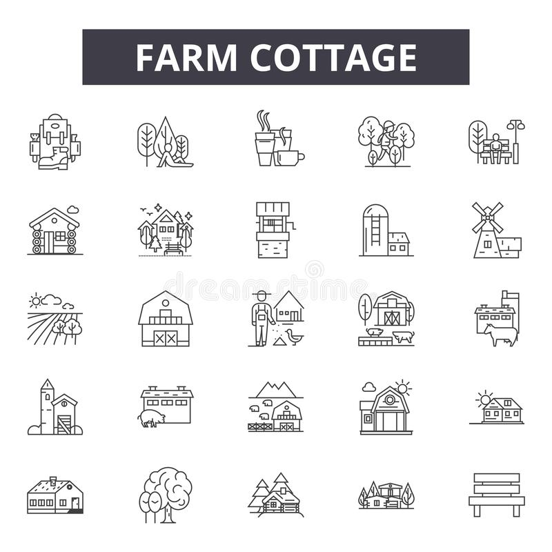 Bauernhofhäuschenlinie Ikonen, Zeichen, Vektorsatz, Entwurfsillustrationskonzept vektor abbildung