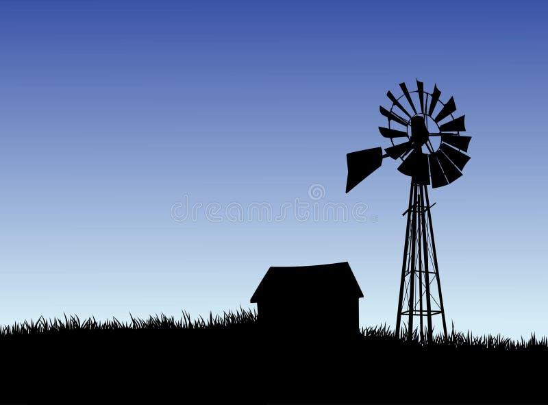 Bauernhofhaus und Windmühlenschattenbild stockfoto