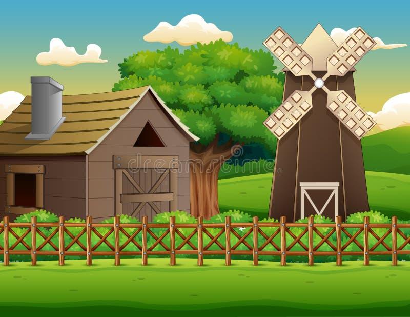 Bauernhoflandschaft mit Halle und Windmühle vektor abbildung