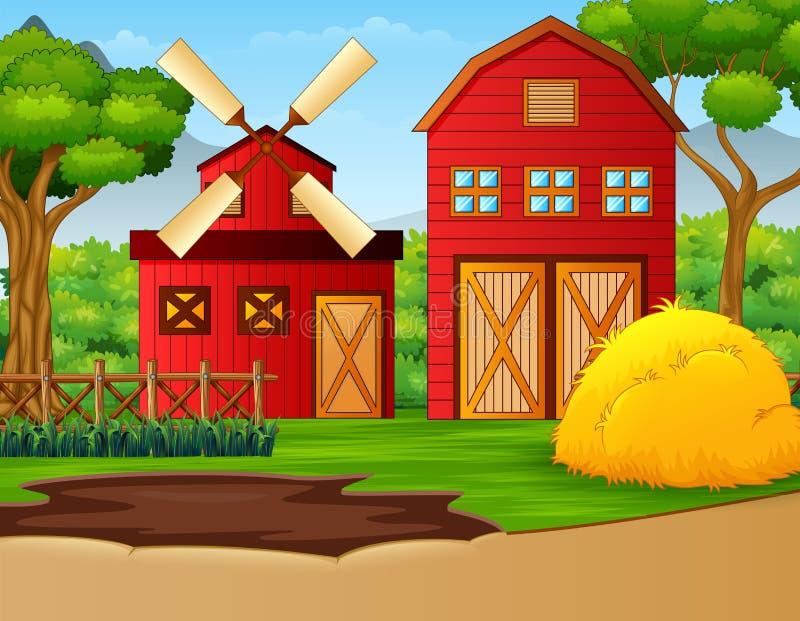 Bauernhoflandschaft mit Halle und Windmühle lizenzfreie abbildung