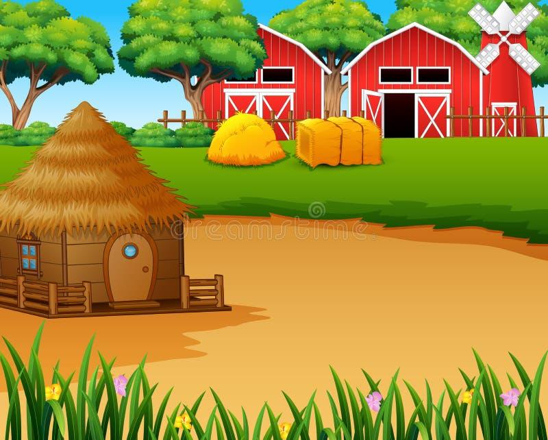 Bauernhoflandschaft mit Halle, Windmühle und einer Hütte lizenzfreie abbildung