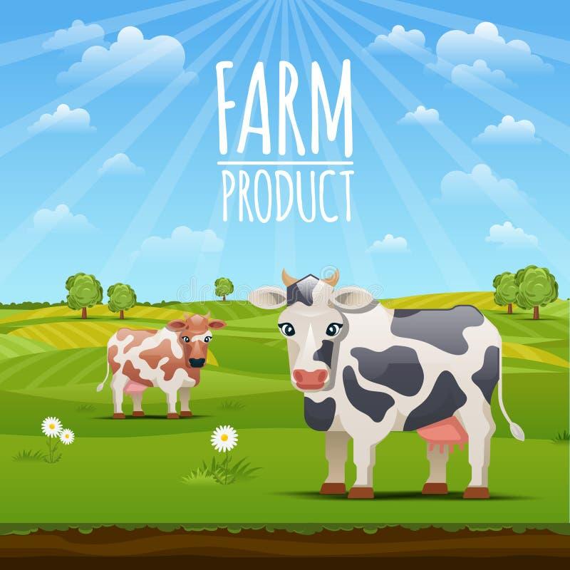 Bauernhoflandschaft mit Kuhvektorillustration lizenzfreie abbildung