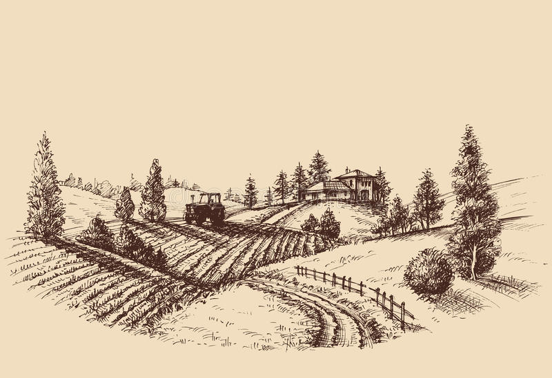 Bauernhoflandschaftsätzung stock abbildung