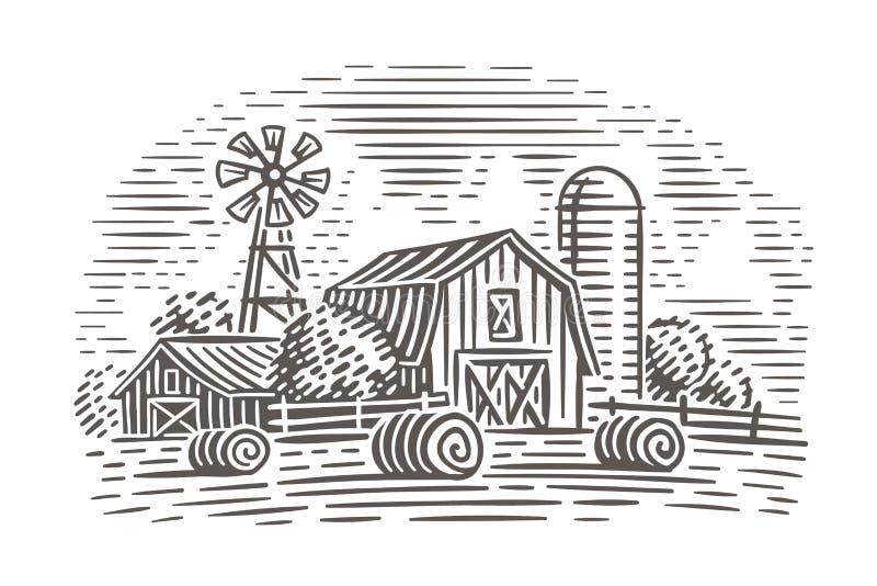 Bauernhoflandschaftsillustration Rustikale Szene Vektor stockfotos