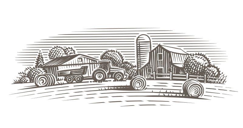 Bauernhoflandschaftsillustration Vektor Hand gezeichnet lizenzfreie stockfotos