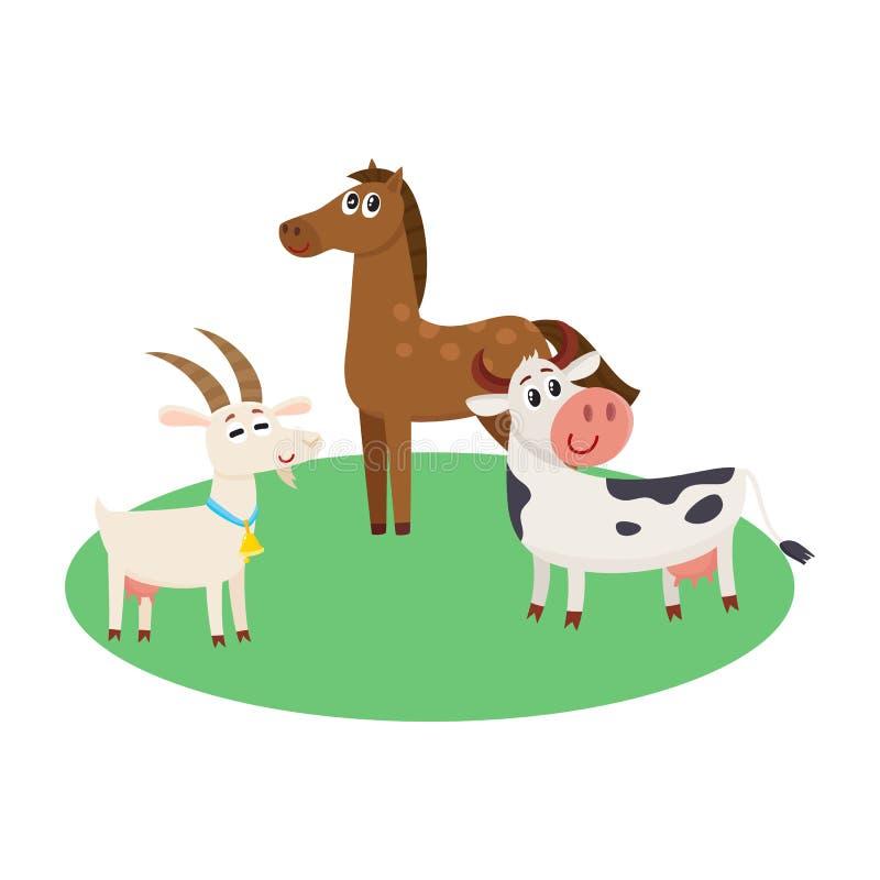 Bauernhofpferd, -kuh und -ziege, die nach der grünen Weide weiden lassen lizenzfreie abbildung