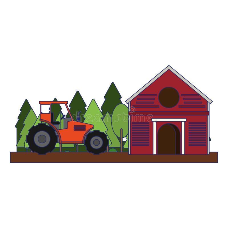 Bauernhofscheune und -traktor in den blauen Linien der Natur vektor abbildung