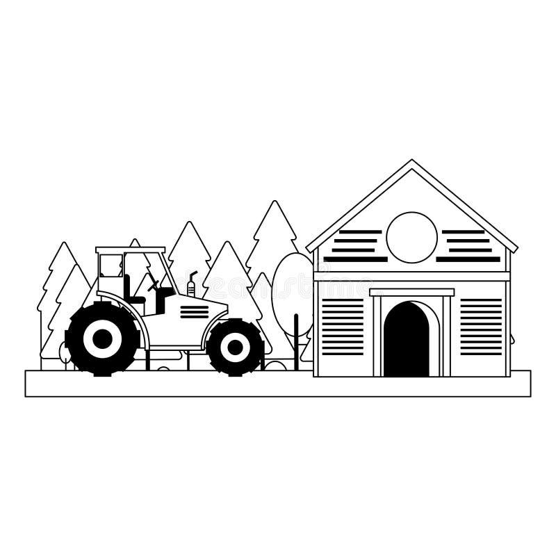 Bauernhofscheune und -traktor in der Natur in Schwarzweiss vektor abbildung