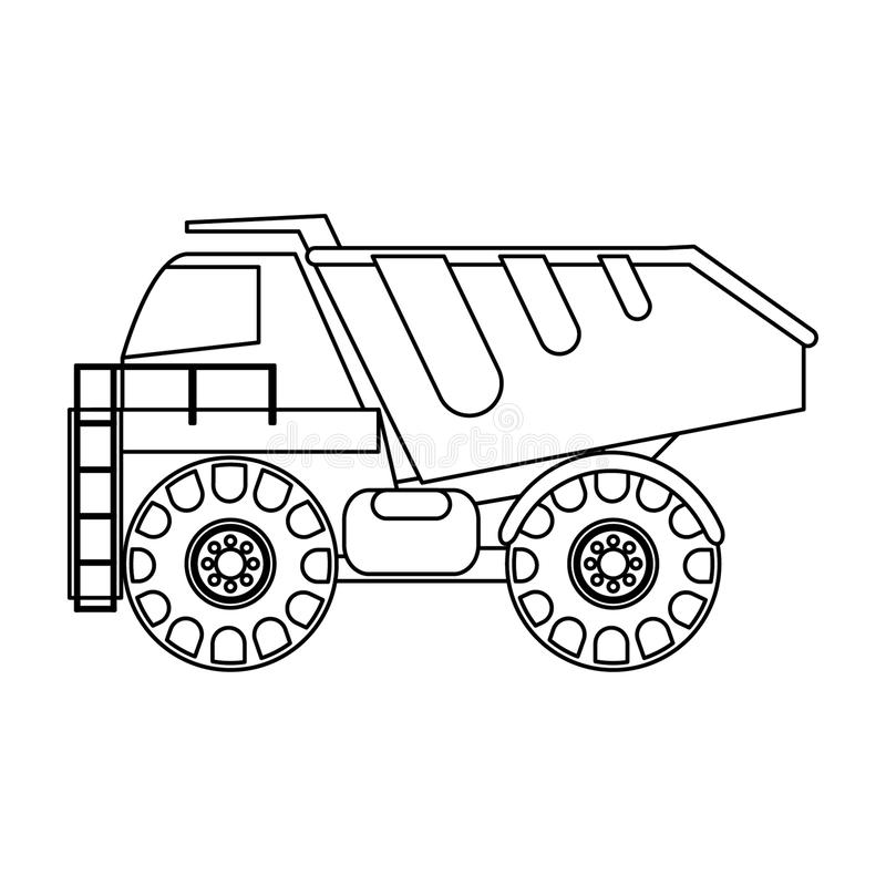 Baufracht-LKW-Fahrzeug lokalisierte sideview in Schwarzweiss lizenzfreie abbildung