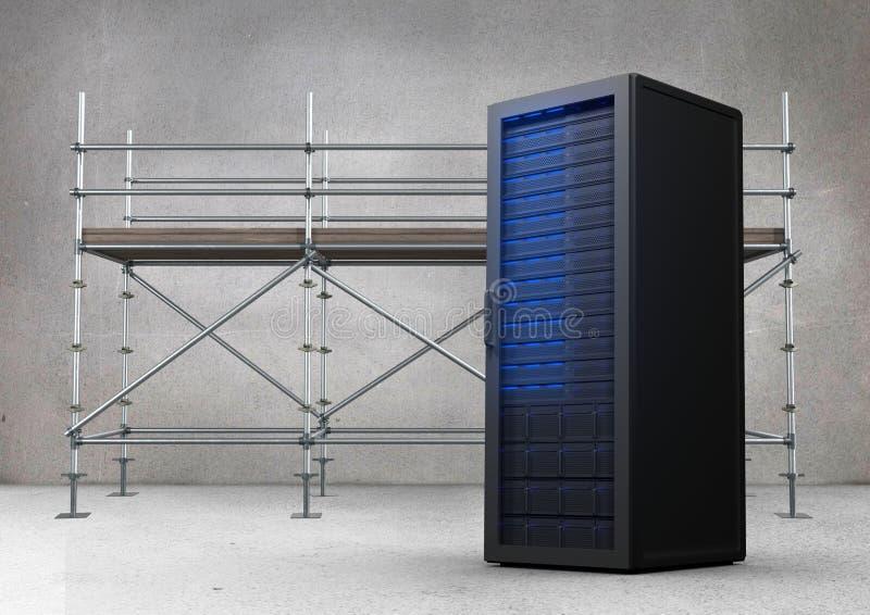 Baugerüst im grauen Raum mit blauem Server lizenzfreie abbildung